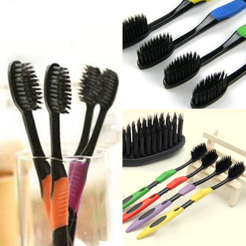 4Pcs Bamboo Charcoal Nano Brush Home Oral Care Double Ultra Soft Toothbrushes