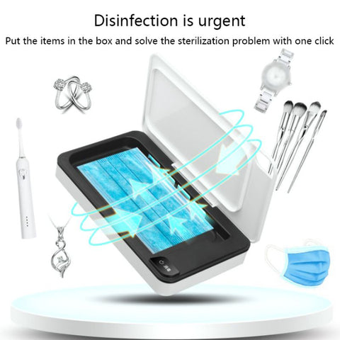 Mask Sterilizer Mobile Phone Wireless Charging Treasure Sterilization UV Sterilizers Multi Functional Portable Disinfection Box