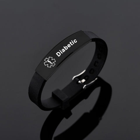 Black Stainless Steel Silicone Medical Alert ID Bracelet DIABETIC EPILEPSY SOS Bracelets Engraving Wristband For Men