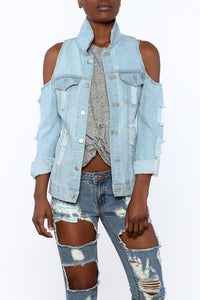 Cold Shoulder Jean Jacket