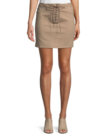 Lace-Up Front Pencil Skirt