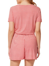 Load image into Gallery viewer, Gingham Print Crossover Romper