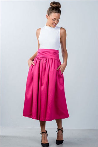 Fuchsia High Waist Skirt