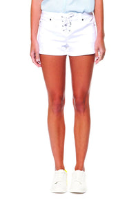 White Denim Lace up Shorts