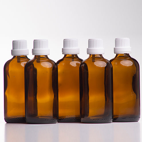 Amber Glass Bottles with White Cap
