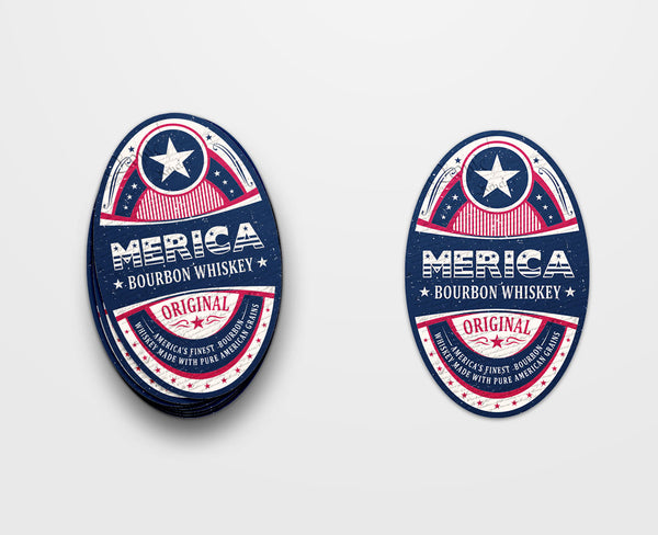 Merica Bourbon Label Sticker