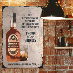 Merica Bourbon Metal Wall Sign