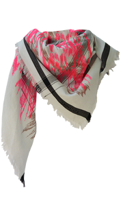Abstract Ikat - Candy Pink - Fine Cotton Scarf Triangle