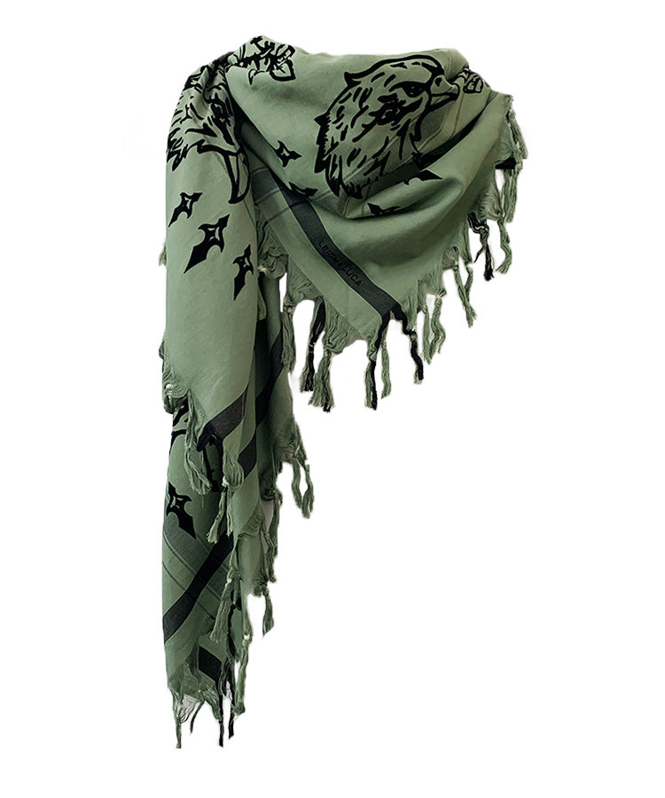 Black Velvet Eagle & Rose - Fine Cotton Scarf