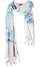 Load image into Gallery viewer, Bloom Shades of Blue - Fine Cotton Scarf