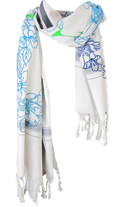 Bloom Shades of Blue - Fine Cotton Scarf