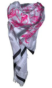 Camou Snow Pink Lillies  - Fine Cotton Scarf