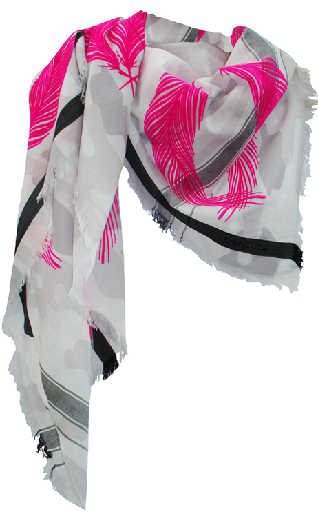 Camou Snow Quills  - Fine Cotton Scarf Triangle