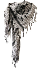Load image into Gallery viewer, Black Velvet Eagle & Rose Striped - Fine Cotton Scarf