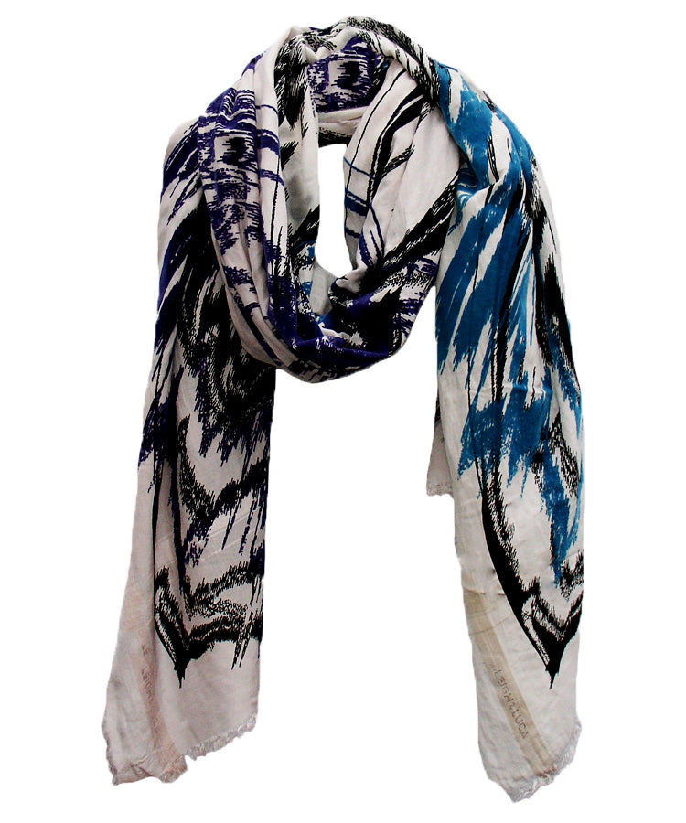 Abstract Ikat Shades of Blue - Fine Silk Cotton Scarf