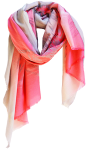 Abstract Ikat Melon - Fine Silk Cotton Scarf