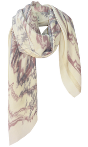 Abstract Ikat Offwhite - Fine Silk Cotton Scarf