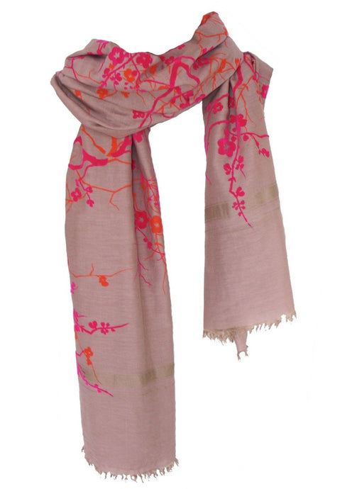 Flowers & Trees - Fine Silk Cotton Scarf