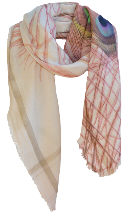 Peacock Shades of Nude - Silk Blend Scarf