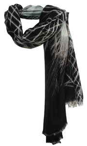 Peacock Shades of Black - Silk Blend Scarf