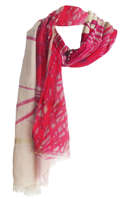 Peacock Shades of Pink - Silk Blend Scarf