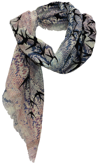 Snake & Freedom Birds  - Fine Silk Cotton Scarf