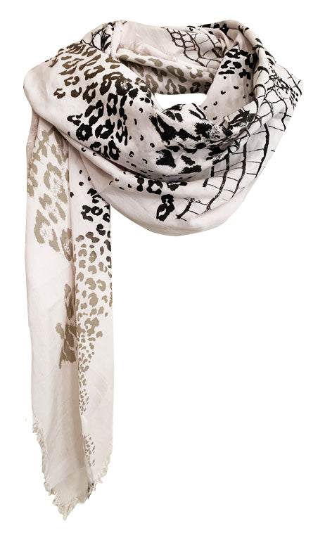 White Wilderness - Fine Silk Cotton Scarf
