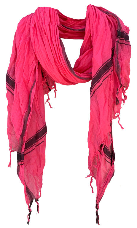 Rich Pink - Fine Cotton Voile Scarf