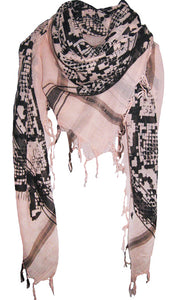 Snake Soft Nude - Fine Cotton Voile Scarf