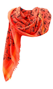 Charleston Glamour Fire -  Fine Silk Cotton Scarf