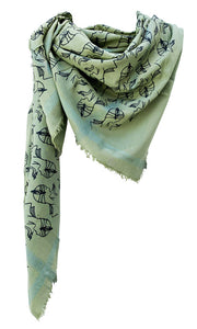 Charleston Glamour Vert -  Fine Silk Cotton Scarf