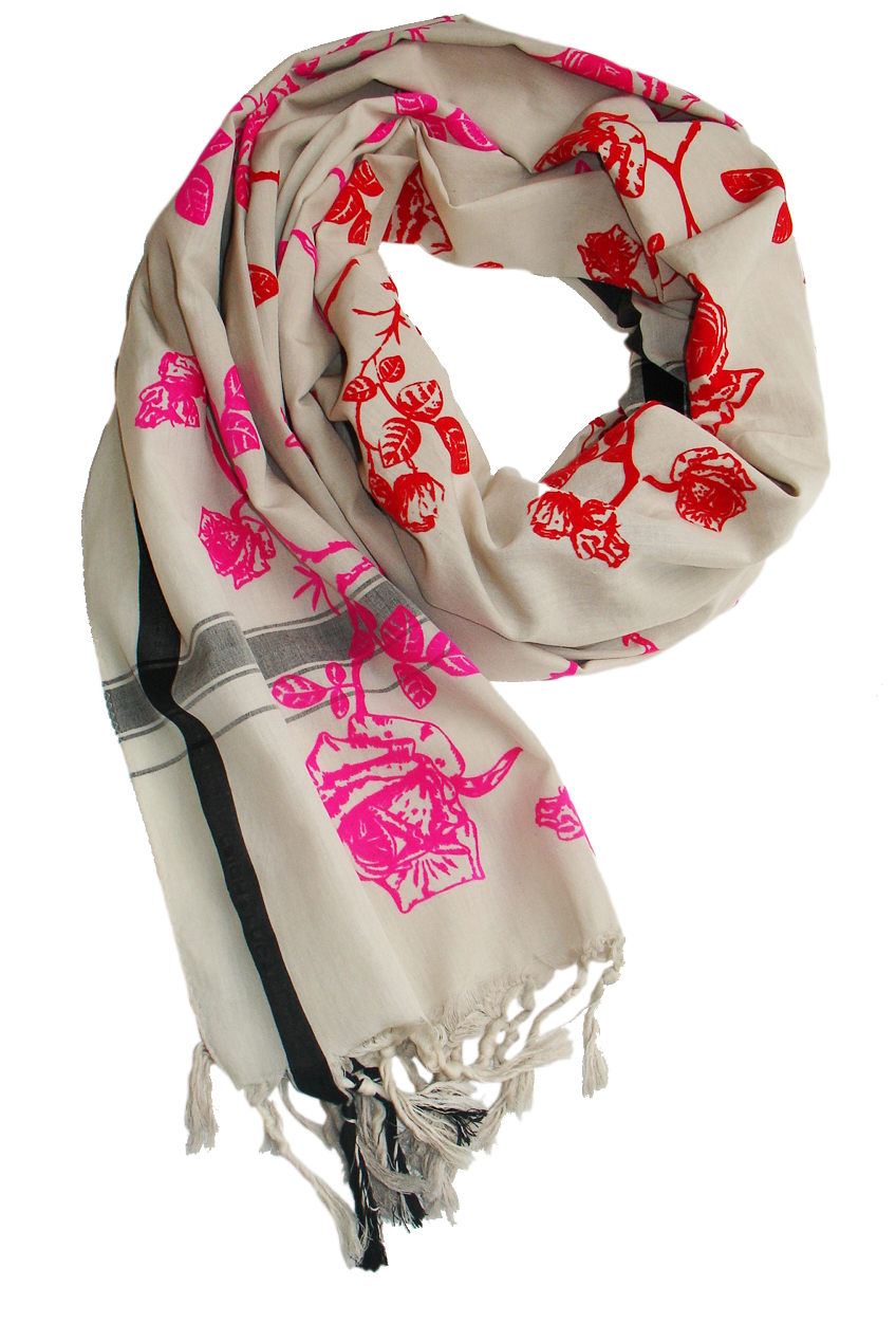 Pink & Red Velvet Rosetoile  - Fine Cotton Scarf