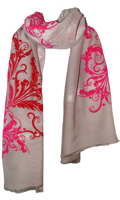 Red Velvet Leaf Tendrils  - Fine Silk Cotton Scarf