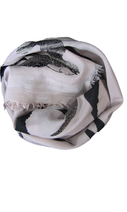 Silver Shadow Birds - Fine Silk Cotton Scarf