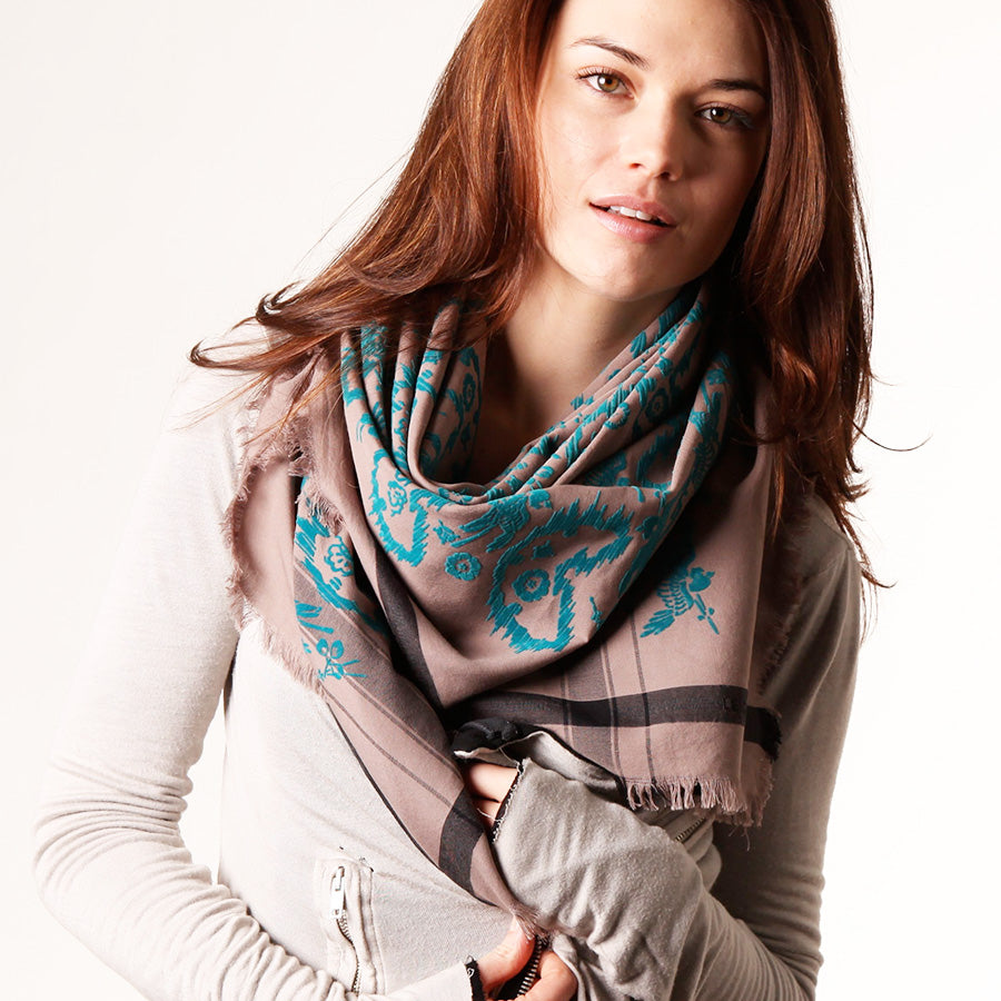 Warrior Teal Story - Fine Cotton Scarf