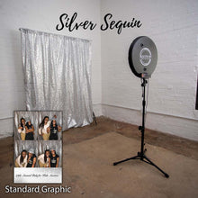 Load image into Gallery viewer, Silver sequin photo booth backdrop