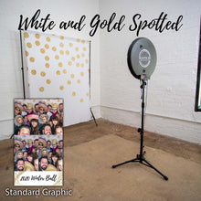 Load image into Gallery viewer, White and Gold Spotted Photo Booth Backdrop