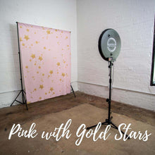 Load image into Gallery viewer, Pink and gold stars photo booth backdrop for kids party.