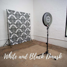 Load image into Gallery viewer, White and Black Damask Elegant Wedding Backdrop