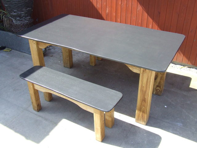 Slate and Oak table with Bench