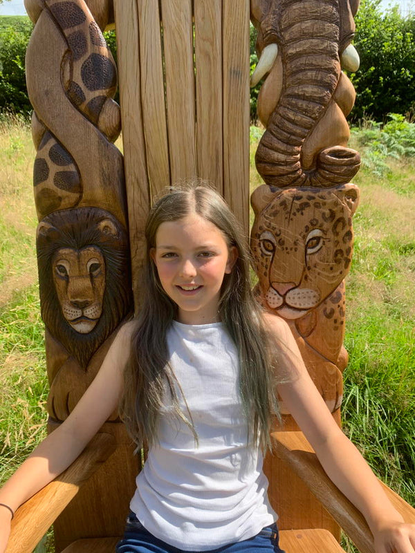 carved story chair with Ella