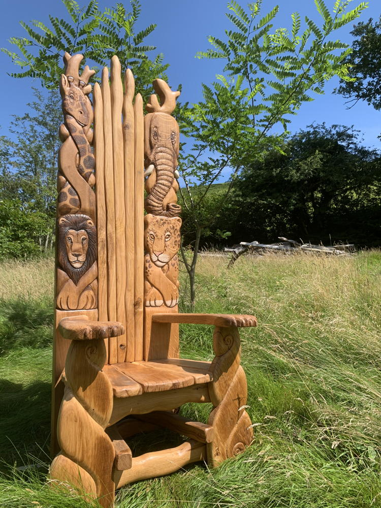 african carved storytelling chair