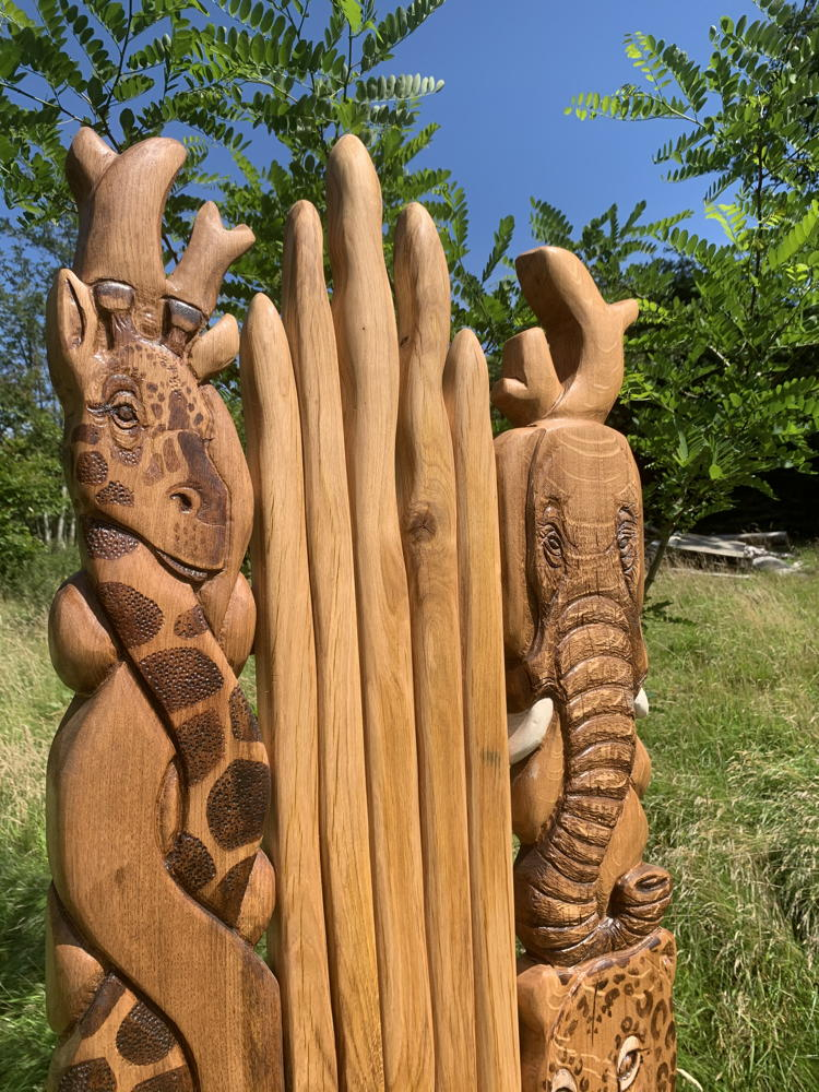 giraffe and elephant carved chair