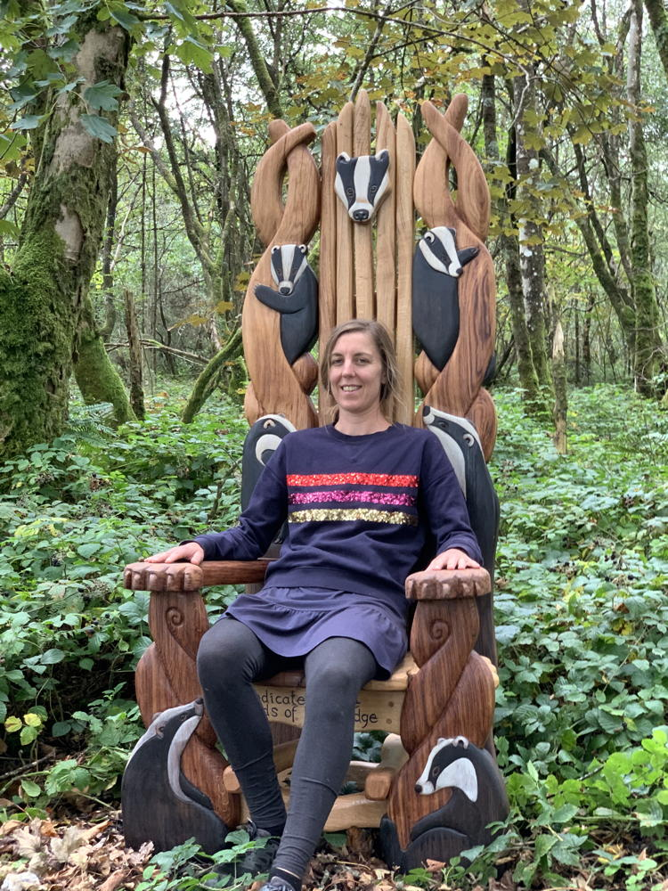 Suzanne in badger storytellers chair