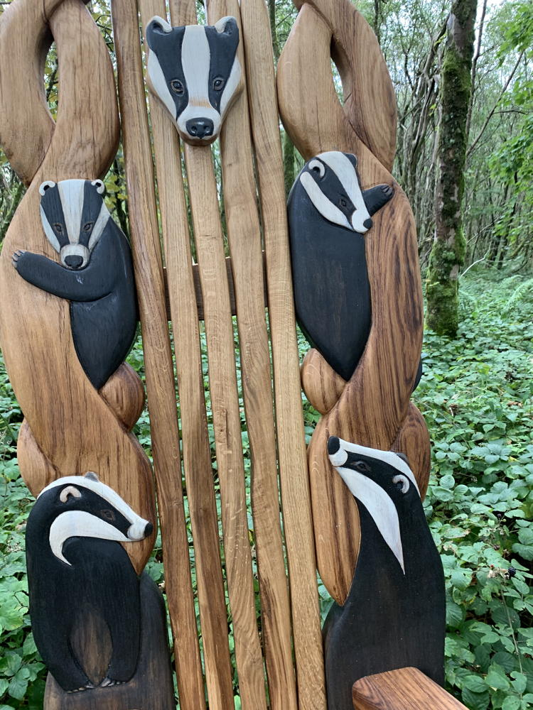 badger storytelling carved chair