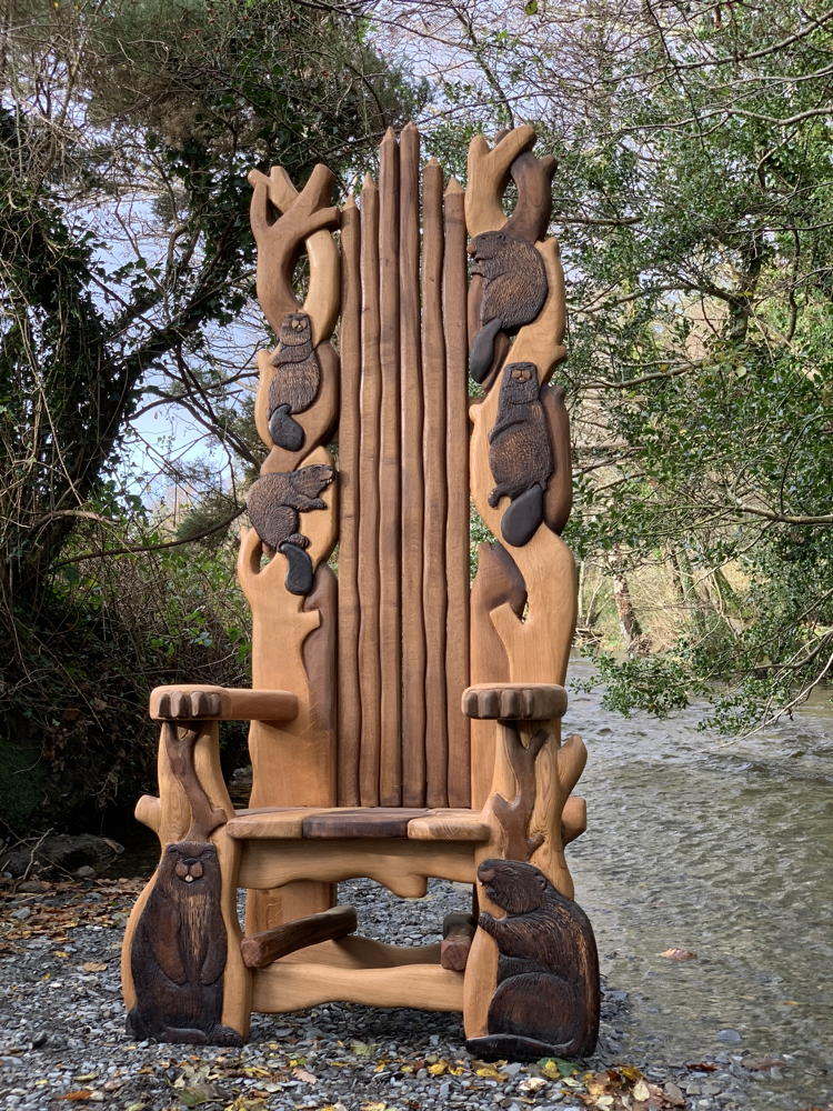 carved beaver chair
