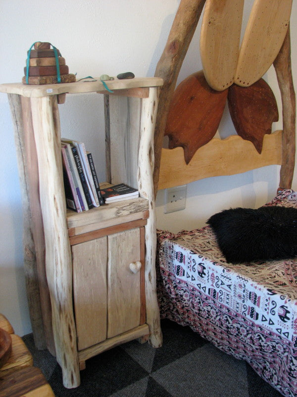 driftwood bed side table with books