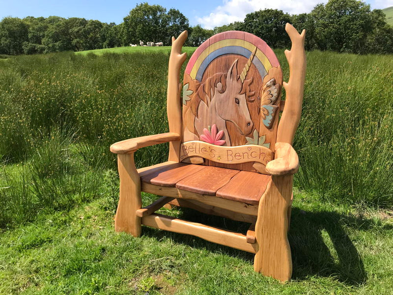 unicorn carved bench