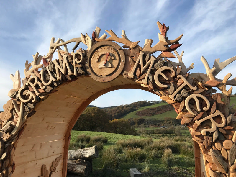 carved wooden arch