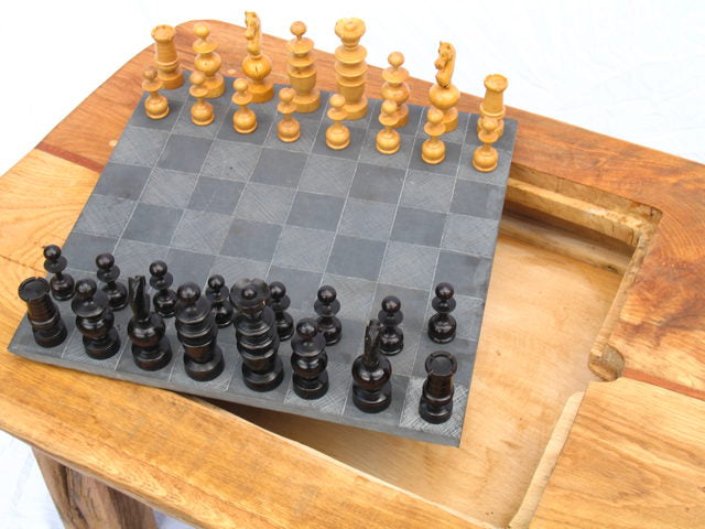 Chess Pieces and Slate Table